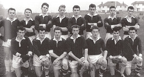 UCG team of 1962, winners of the Sigerson Cup.  Back row: Pateen Donnellan, Kevin Moyles, Mick Moylett,Tom Gilmore, Martin Newell, Mike O'Shea, Enda Colleran, Kieran O'Connor.  Front row, Eamonn Slattery, Seamus Kilraine, Christy Tyrrell, Hugh McGonigle (cpt), Sean Donnelly, Sean Gannon, Jimmy Jordan.