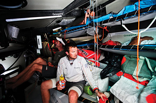 Groupama Sailing Team during leg 3 of the Volvo Ocean Race 2011-12, from Abu Dhabi, UAE, to Sanya, China. (Credit: Yann Riou/Groupama Sailing Team/Volvo Ocean Race)