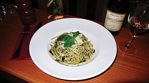 Linguine Veronese with wilted zucchini, toasted pine nuts,  and homemade basil pesto.