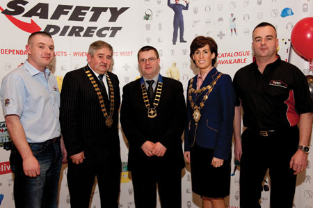 At the recent launch of the Safety Direct Galway International Rally, were Victor Farrell, clerk of the course;  County Galway Mayor Michael Maher; Kieran Donohue, president of Galway Motor Club; Galway Mayor  Hildegarde Naughton; and Alan Fair, operations director of the sponsor Safety Direct.
