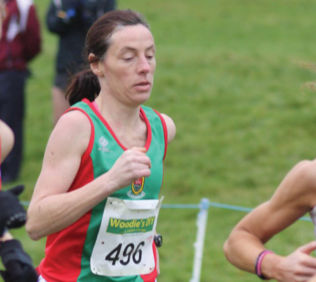 Running on: Colette Tuohy who led the Mayo AC ladies' masters team to a sliver medal in the recent Woodies DIY AAI Masters Cross Country Championship.