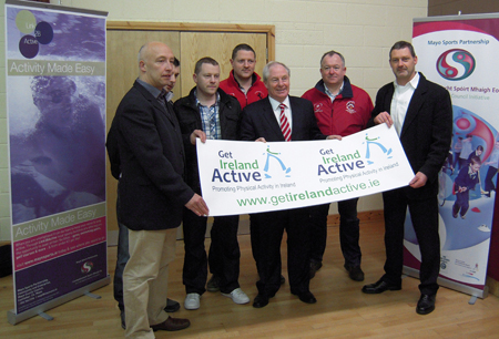 At the Mayo launch of the Get Ireland Active website from left: Charlie Lambert, co-ordinator, Mayo Sports Partnership; Paul Cunnane, Claremorris Rugby Club; Eddie Mc Loughlin, Claremorris Rugby Club; Kevin O'Malley, Claremorris Rugby Club; Minister Michael Ring TD, Minister of State, at the Department of Transport, Tourism and Sport; Michael Tobin, Castlebar Rugby Club; and Paul Gillen, Health Promotion Officer, HSE West.