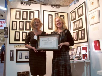 Ethel Kelly of The Claypipe Visitor Centre in Knockcroghery, Co Roscommon being presented with The Best Irish Craft Company 2011 Award from Ms Anne Tarrant, executive director of The North American Celtic Trade Association (NACTA), at Showcase 2012.