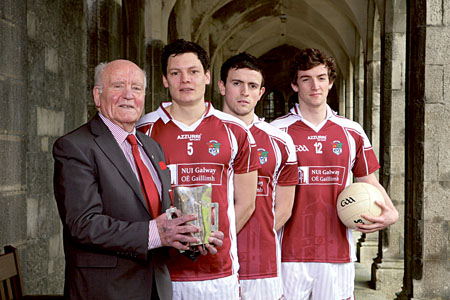 Former GAA president and NUIG Sigerson winner Mick Loftus was on campus this week to officially launch the Sigerson Cup finals with NUI Galway footballers Ciaran McDonald (captain), Jason Doherty, and  Joss Moore. Photo:- Mike Shaughnessy.