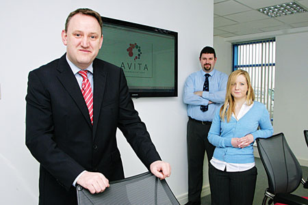 Gordon Fahy of Avita Communications with his team of  Keith Shaughnessy (senior engineer) and Anita Walsh (accounts administrator). Photo:-Mike Shaughnessy