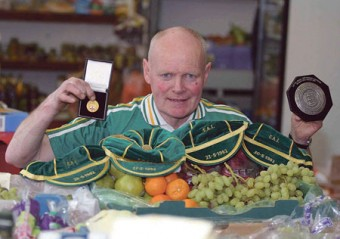Eamon 'Chick' Deacy pictured with his League Championship medal, his Irish caps, and a Charity Shield medal from 1981. Photo: Hany Marzouk.
