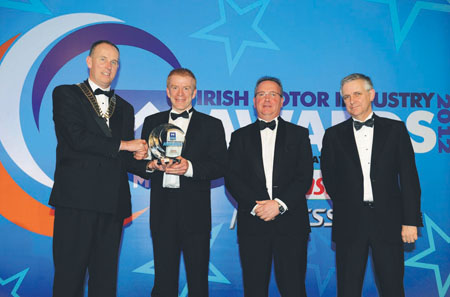 Pictured at the awards are Gerry Caffrey, president SIMI; Frank Byrnes, MD Frank Byrnes Autobody Repairs; Dave Watson, head of Castrol Professional in Ireland; and Alan Nolan, SIMI.