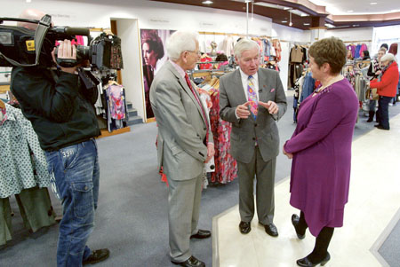 Senator Feargal Quinn chats to Ian and Rosie Boles last Friday during the filming of the new series of Feargal Quinn's Retail Therapy. Photo: molloyphotography