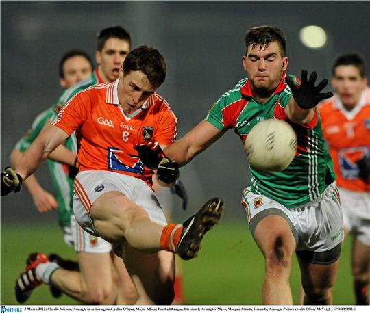 Handy man: Aidan O'Shea gets a hand in to block Charlie Vernon's shot on goal. Photo:Sportsfile