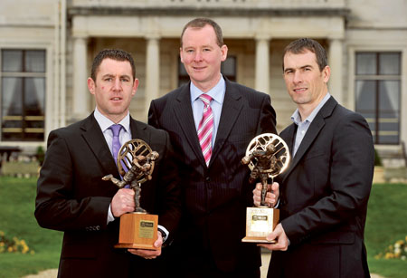 Dessie Dolan and Frankie Dolan with AIB Rep Niall Ward at the 16th Annual AIB Provincial Player Awards ceremony. Photo: SPORTSFILE