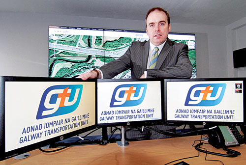 Cllr Michael Crowe in the Galway Traffic Management Centre at City Hall. Photo:-Mike Shaughnessy