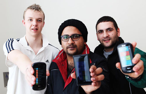 GMIT software development students with their Windows phones, l-r: Billy Pierik (second year), Castlebar, Adeel Gilani (second year) from Pakistan/Galway and Enzo Lieghio (third year), Italy/ Claregalway.