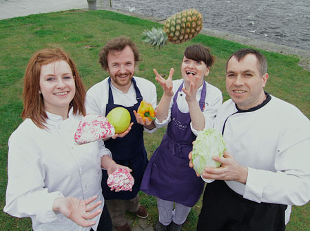 Galway's finest chefs (l-r) Lisa Ryan, Gourmet Tart Co; Pawel Karnafel, Cava; Louise O'Neill, The Kitchen; at the Galway  City Museum and Lurie Damian of McSwiggans launch Galway Food Festival 2012 Programme of Events at the Spanish Arch on Wednesday. The festival will run from April 6-9, Easter Weekend. Photo:-Mike Shaughnessy