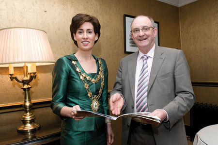 Mayor of Galway Hildegarde Naughton with Tom Murphy of Modern Homes Exhibitions at the recent launch of the Galway Modern Homes and Building Exhibition which will be taking place in Leisureland, Salthill, this weekend.