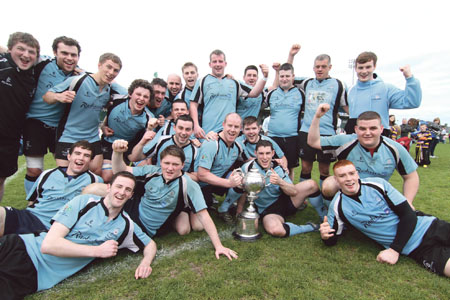 Galwegians celebrate victory over Loughrea to win this season's Connacht Junior Cup at the Galway Sportsground on Sunday.