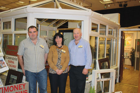 The Best Stand at the Modern Homes and Building Exhibition last weekend was Timoney Windows, Barna, Galway, phone 091 596808. Pictured are (l-r): Michael, Maureen, and Gareth Timoney.