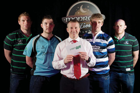 Pictured are Connacht players Adrian Flavin, Johnny O Connor, captain Gavin Duffy, and Michael Swift with Finn Gormley of Corinthians and Dave Clarke of Galwegians with quiz host, James Heaslip.