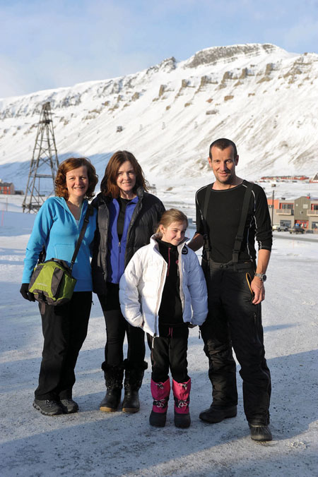 Richard, pictured with his family on Spitsbergen island, prior to departure. From left, his sister Alice, wife Caroline, and daughter Jaimie.