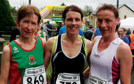 Pictured are the top three at Kilmovee 10k  - all members of Mayo AC: l-r Angela O'Connor, 3rd; Mary Gleeson 1st and Colette Tuohy 2nd.