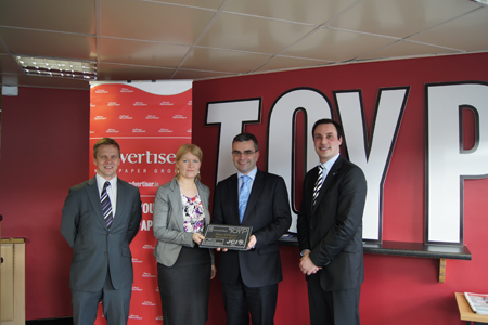 Pictured (l-r): Fergal O Connor, sales manager, Mayo Advertiser; Joan Geraghty, acting editor, Mayo Advertiser; Dara Calleary TD, TOYP winner, (political, legal, and/or governmental affairs); and Derek Reilly, JCI Mayo president, at the JCI Mayo and Mayo Advertiser TOYP Awards in association with AIB Bank Claremorris.