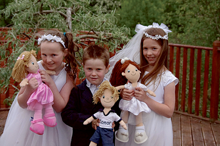 Maeve Gleeson, Conor Mooney and Sophie Coleman and their new lifelong friends pose for a photo.
