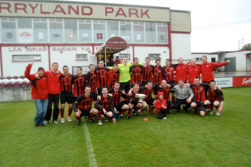 Champions again: Westport United celebrate winning the Connacht Junior Cup. Photo: Mayo League