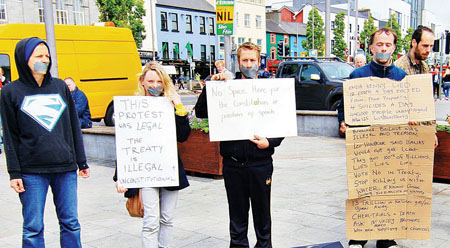 Protesters at a public meeting in Eyre Square on Wednesday, organised by the Occupy Galway movement, to respond to the removal of the Occupy Galway camp. 					Photo:-Mike Shaughnessy