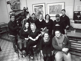 GMIT printmaking students (Back, L to R) Ali Raza, Cheryl Kelly Murphy, Holly Ellis, Grainne Ruane, Deirdre Deegan-McGee, Michel de Jong, and Yannick Hegoburu. (Front L to R) Ciara Murphy, Louise Kelly, Sinead McTigue, and Curtis Stewart.