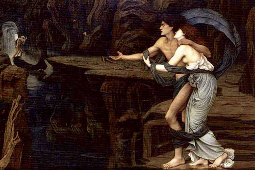 John Roddam Spencer Stanhope's Orpheus and Eurydice on the Banks of the Styx.