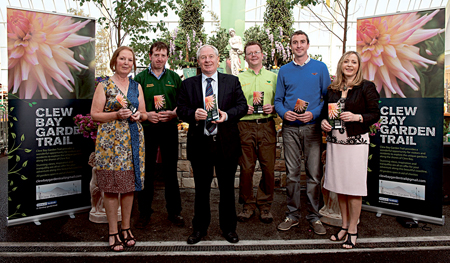 Pictured at the launch of the Clew Bay Garden Trail at Connacht Gold Garden Centre, Westport, were: June Bourke, Seamus Hastings (manager Connacht Gold Westport), Dep Michael Ring, Minister of State at the Department ofTransport, Tourism and Sport, Paul Kirwan (manager Connacht Gold Garden Centre), Cormac Langan, and Mairead Bourke. Pic: Michael Mc Laughlin