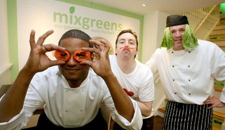 Lettuce entertain you....Shan Mugam, Kieran Nolan and Ken Leyden of Mix Greens celebrating the opening of Mix Greens on Lower Abbeygate Street this week. Photographer Iain Mc Donald
