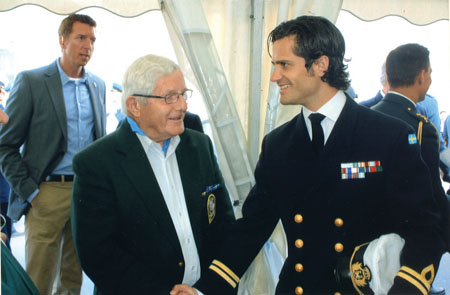 Prince Carl Philip pictured with Galway veteran William Raftery in Stockholm last week.
