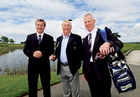 At the launch of the the Guinness Mid-Strength Blue Tee Challenge were (l-r): Ronan Killeen, director of the Galway Bay Golf Resort; former Ryder Cup and World Cup golfer Christy O'Connor Jnr, and Des Roche of event sponsors Diageo. Photo:-Mike Shaughnessy.