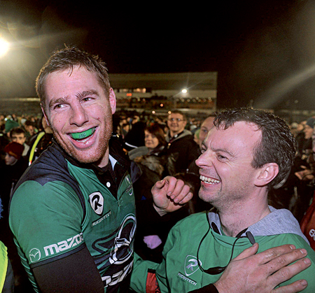 Gavin Duffy, Connacht captain, celebrates at the end of the Heineken Cup win over Harlequins this year. This week's draw have placed the two sides in the same pool once again. Photo: Sportsfile.