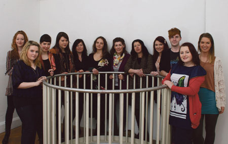 GMIT textiles students (l-r): Tara Fee, Ciara Anne Brody, Christine McHugh, Sarah Levy, Helen Garvey, Tetyana Tyshkevych, Rita White, Catherine Donaghy, Sacha Brudell, Shaun Dorrian, Jean Power and Orla Byrne.