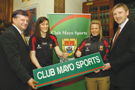 Mayo Ladies football team members Cora Cooke and Fiona McHale gave the 'thumbs up' at the launch of Club Mayo Sports in the Burlington Hotel Dublin, pictured with John O'Mahony TD, who launched the new fund-raising organisation and PRO, Gerry Kelly.  Picture Henry Wills.