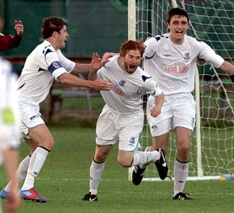 Cause of celebration: SD Galway's Eugene Greaney after scoring a goal in Saturday's Airtricity League first division clash with fellow Galway side Mervue United.  					Photograph: Mike Shaughnessy