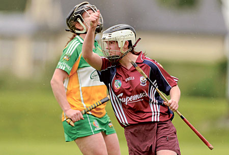 Galway's Tara Rutledge celebrates after scoring her side's first goal that set her team on the way to an All-Ireland Senior Camogie Championship round one victory over Offaly.  Next up Galway will face Kilkenny in round two.