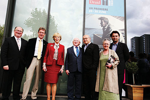 Seamus O'Grady (Druid chairman), Dr Jim Browne (president NUI Galway), Mrs Sabina Higgins, President Michael D Higgins, Tom Murphy (playwright), Garry Hynes (artistic director, Druid), Edward Hall (artistic director, Hampstead Theatre) at the DruidMurphy London opening at Hampstead Theatre on Saturday June 23. The opening was co-hosted by Druid and NUI Galway. Photo Joanne O'Brien