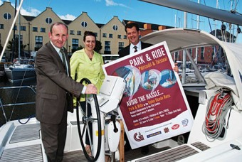 Joe Tansey (Galway Transportation Unit), Marie King McGovern (Bus Éireann) and Brian Connolly (Bus Éireann) at the recent launch of the Park and Ride for the Volvo Ocean Race.