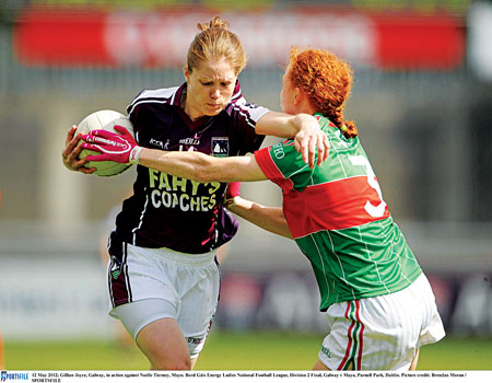 Gillian Joyce, Galway, in action against Noelle Tierney, Mayo, in the National Football League in May. Pic: Sportsfile