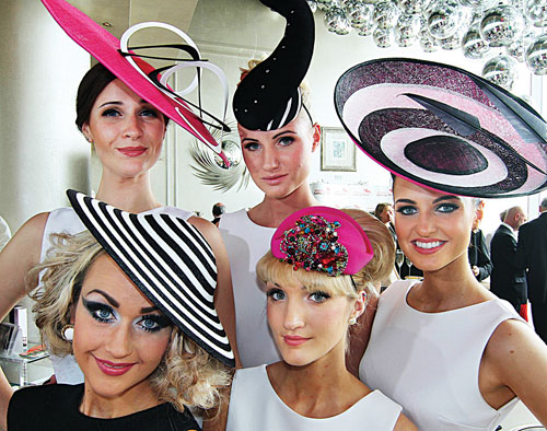 Models Kamile Jucyte, Simona Vasiliauskaite, Leonie Mc Guigan, Ismay McVey and Linda Moran at the launch of the Galway Races at  the g Hotel on Wednesday. Photo:-Mike Shaughnessy