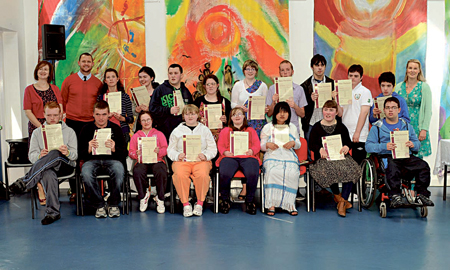 Pictured with their ASDAN New Horizons certificates are front: Gerard Hamill, Patrick Bree, Chloe Drewe, Eimear Rushe, Grace Pidgeon, Tha Dah Say, Aisling McGing, Sean Murphy. Back: Fiona Byrnes (Principal), Ross Higgins (teacher), Emma Hagan, Sarah Kelly, Dermot King, Nicola Ludden, Anna Niland, Paddy McDonagh, Francis Staunton, John McEllin, John Joyce and Anna Sweeney (Deputy Principal/teacher). Photo: Ken Wright