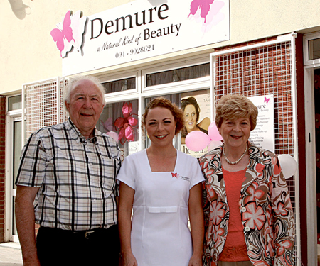 Pictured at the official opening of Deborah McAndrew's beauty salon Demure is Deborah with her parents Julia and Michael.  Photo: Joy Heverin.