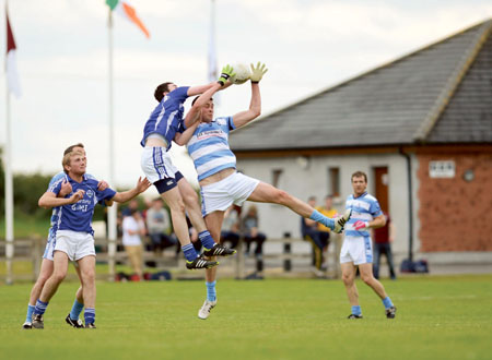 Athlone's John Stableton and Maryland's Liam Reilly contest a kick-out during last weekends Championship fixture. Photo: johnobrienimages.com