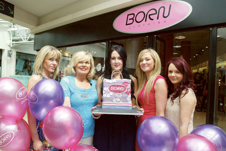 Born staff celebrating the second anniversary of the store opening in Athlone Towncentre last Saturday were: Lynn Coyne-Ward, Nancy Kilmartin, manager Michelle McEvoy, Ciava Dunning, and Chloe Fitzmorris. Photo: molloyphotography