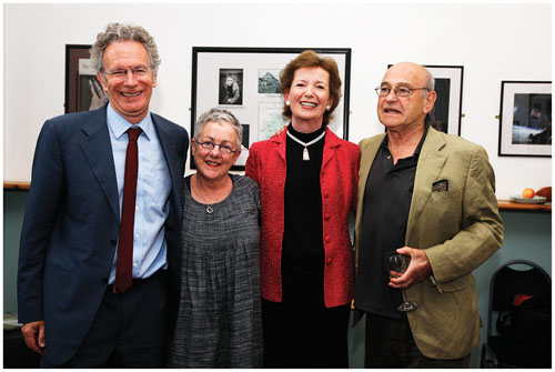 Fintan O'Toole, Garry Hynes, Mary Robinson, and Tom Murphy, pictured at the Town Hall Theatre last Saturday.