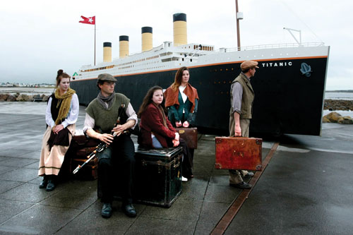 The Addergool replica of the Titanic, pictured with actors at the Prom yesterday. Photo: Darius Ivan