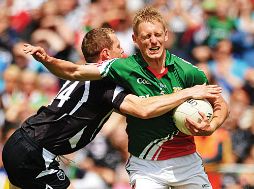 Kevin Keane, Mayo, in action against Adrian Marren, Sligo, in the Connacht final — Pic Barry Cregg / SPORTSFILE