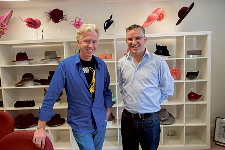 Philip Treacy pictured with Seamus Fahy at the Philip Treacy showroom, London.